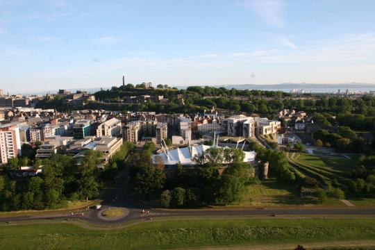 A view from Arthurs Seat across the Edinburgh landscape around Dynamic Earth